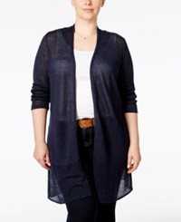 Alfani Plus Size Mesh Panel Long Cardigan Only At Macy's Modern Navy