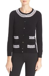 Tory Burch Women's 'Avery' Crochet Trim Wool Blend Cardigan