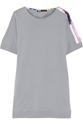 Y 3 Adidas Satin Trimmed Cotton Tunic Gray
