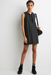 Forever 21 Hooded Pinstripe Dress Black White