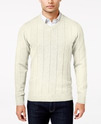 John Ashford Men's V Neck Striped Texture Sweater Only At Macy's Ivory Cloud