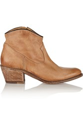 N.D.C. Santa Monica Distressed Leather Ankle Boots Brown