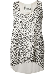 8Pm 'Cristina' Leopard Print Vest Nude And Neutrals