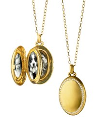 Monica Rich Kosann 18K Gold Premier Satin Finish Locket Necklace With Diamonds