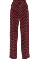 Mother Of Pearl Penley Printed Silk Crepe De Chine Wide Leg Pants Red