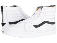 Vans Sk8 Hi Slim Zip Plaid Flannel True White Black Skate Shoes