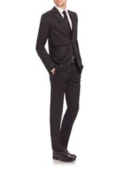 Giorgio Armani Taylor Basic Two Button Wool Suit Navy