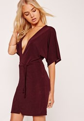 Missguided Kimono Sleeve Belted Wrap Dress Burgundy
