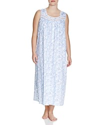 Eileen West Plus Mediterranean Cruise Sleeveless Ballet Nightgown Blue Ground White Lace Print