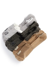 Sperry Cotton Blend No Show Liner Socks Assorted 3 Pack Pine Bark White Charcoal