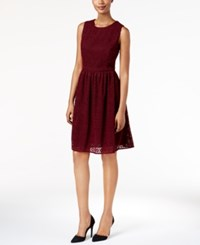 Tommy Hilfiger Crochet Fit And Flare Dress Red