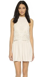 J.O.A. Lace Overlay Dress Ivory