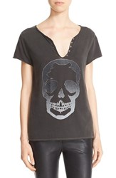 Zadig And Voltaire Women's 'Tunisien' Glitter Skull Graphic Tee