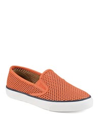 Sperry Seaside Perforated Slip On Sneakers Coral