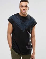 Asos Oversized Sleeveless T Shirt With Bandana Print Yoke In Black Black