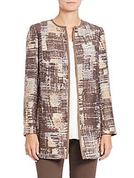 Lafayette 148 New York Pria Printed Coat Chestnut