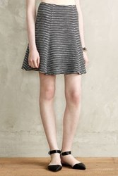 Anthropologie Striped Skater Skirt Dark Grey