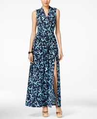 Michael Michael Kors Petite Printed Front Slit Maxi Dress