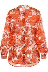 Msgm Printed Silk Chiffon Shirt Orange