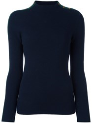 Tory Burch Shoulder Detailing Ribbed Pullover Blue