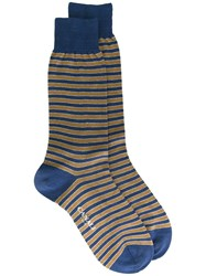 Canali Striped Socks Blue