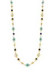 Romantic Azaara Lapis And Pyrite Station Necklace Gold