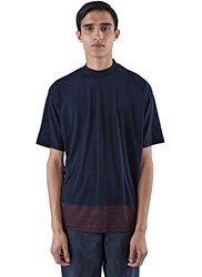 Kolor Contrast Hem Roll Neck T Shirt Navy