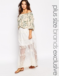 Alice And You Lace Embroidered Maxi Skirt Cream