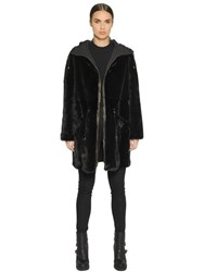Army Fur Reversible Nylon And Mink Fur Parka