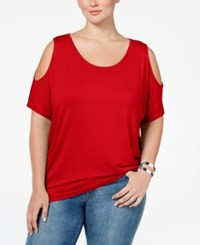 Ing Plus Size Cold Shoulder Tunic Red