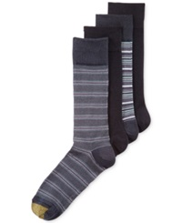 Gold Toe Men's Classic Striped Socks 4 Pack Navy