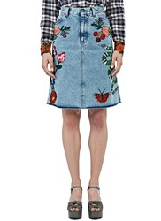 Gucci Embroidered Denim Skirt Blue