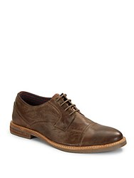 Ben Sherman Distressed Lace Up Oxfords Taupe