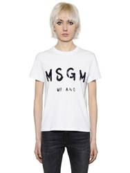 Msgm Plain Logo Cotton Jersey T Shirt