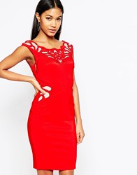 Lipsy Waxed Lace Applique Pencil Dress Red