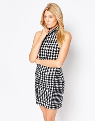 Motel Annes Bodycon Dress With High Neck In Houndstooth Print Houndstoothblackwh