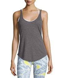 Alo Yoga Sculpt Cutout Back Ribbed Tank Dark Heather Gray Dark Heather Grey