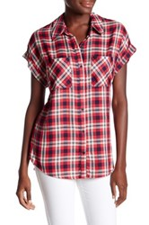 Como Vintage Short Sleeve Plaid Shirt Red
