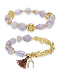 Lonna And Lilly Stretch Style Beaded Bracelet Set Of 2 Gold