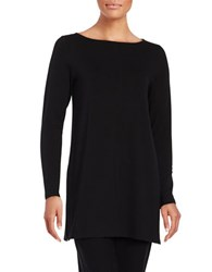Eileen Fisher Petite Solid Boatneck Top Black