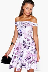 Boohoo Mila Off The Shoulder Floral Print Skater Dress Multi