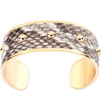 Aspinal Of London Athena Python Leather Cuff Bracelet M Brown