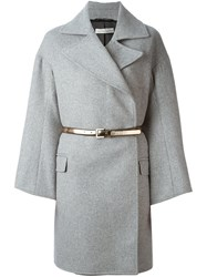 Golden Goose Deluxe Brand Belted Double Breasted Coat Grey