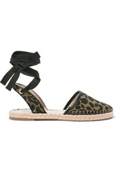 Sophia Webster Juana Leather Trimmed Jacquard Espadrilles Leopard Print