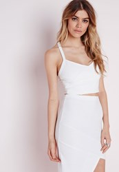 Missguided Bandage Cross Over Crop Top White