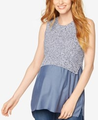 A Pea In The Pod Sleeveless Layered Look Sweater Midnight White