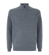 Galvin Green Charles Half Zip Wool Blend Sweater Male Grey