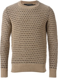 Jeordie's Diamond Mesh Knit Sweater Nude And Neutrals