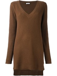 P.A.R.O.S.H. V Neck Long Fit Jumper Brown