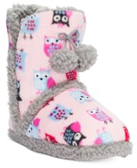Pj Couture Plush Owl Printed Booties Pink